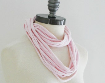 Pink Fabric Strip Scarf. Light Pink Cotton Tshirt Infinity Circle Scarf.Recycled Mothers Day Breast Cancer Awareness Gift Accessory Clothing