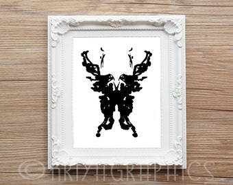 psychology black and white prints wall art abstract art abstract print rorschach style rorschach art print ink blot rorschach inkblot art