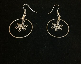 Silver Snowflake and Hoop Earrings, Ready to Ship, Snowflake Jewelry, Christmas Earrings, Hoop Earrings