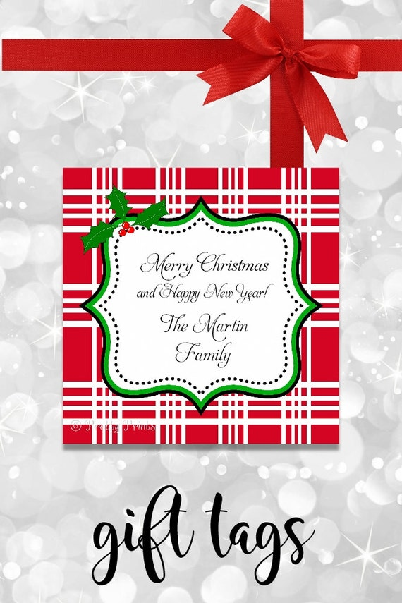 Christmas Gift Tags - Plaid tags -  Printable gift tags - Personalized Christmas Tags - Christmas Tags - Tags