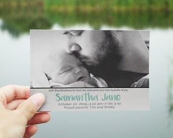 Newborn Baby Birth Announcement Card-Samantha