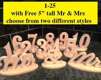 """1-25 1/2"""" thick with Mr & Mrs,   Wedding table numbers"""