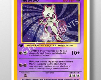Pokemon Base Set 1 *Mewtwo* Card A3+ A4 or A5 PRINT