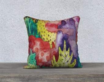 Pillow case, Fall abstract leafs, original illustration by Kim Durocher, printed on polyester velveteen fabric.