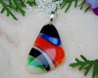 Fused Glass Pendant,Black,Blus,Orange,Green and White pendant,Fused Glass Jewlery,Pendant