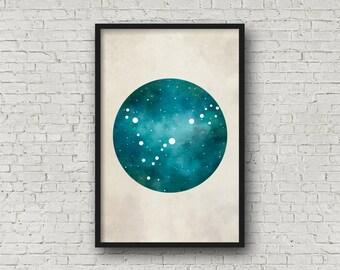 Pisces Constellation, Wall Art Prints, Art Print Poster, Pisces Art, Pisces Zodiac, Zodiac Print, Zodiac Sign