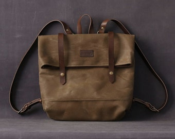 Waxed canvas backpack JUDITH brown