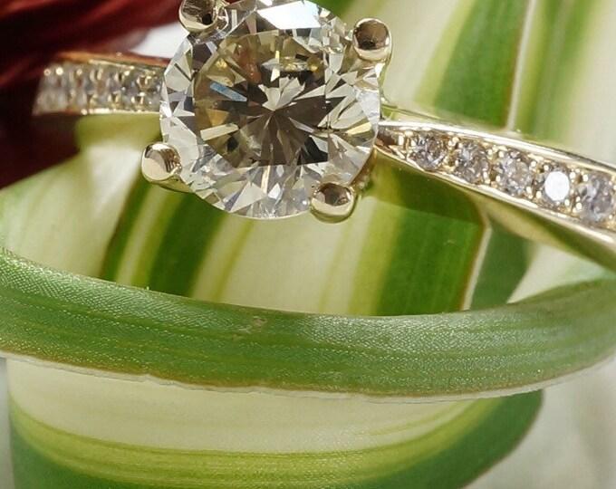 ON SALE 1 carat Diamond Engagement Ring - Yellow Gold Engagement Ring - Engagement Ring Side Stones - Bridal Jewellery - Anniversary Gift