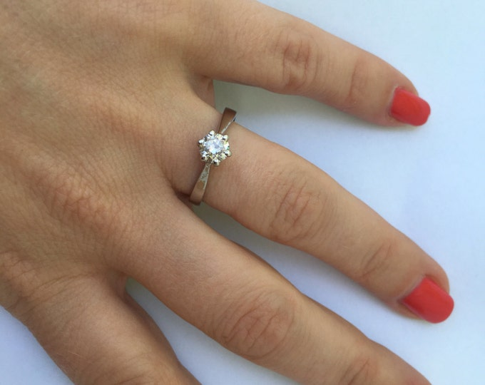 ON SALE !!!0.35 carat  Diamond Engagement Ring-Solitaire diamond ring-14K White Gold Ring-Women Jewelry-Promise ring-Bridal ring-Unique ring