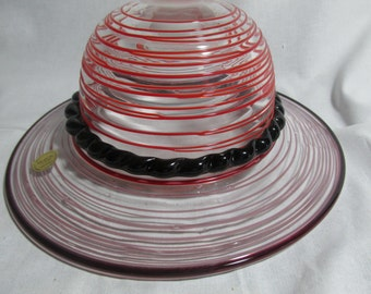 Block Crystal red striped glass hat with black braided band