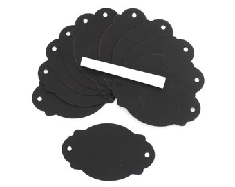Set of 12  Chalkboard paper oval scallop edge Tags with 1 piece of chalk. Great for gifts, favors, rustic primitive decorations.(CBT9235)