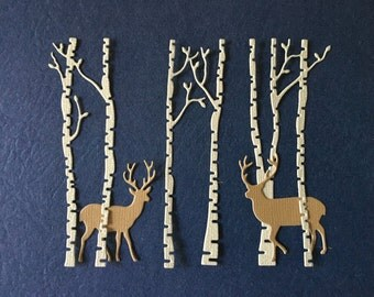 Birch Trees & Deer Diecuts -- one set as shown -- Handmade in USA