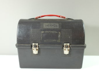 Vintage Thermos black plastic lunch box, Plastic Thermos Lunch Kit