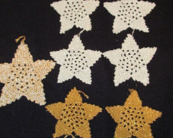 Lot of 9 Vintage Christmas Hand Crocheted Star Ornaments Gold Silver Thread