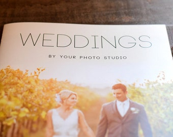 Weddings Welcome Guide 04 Magazine Template:  16 Page 11 x 8.5 CustomizableTemplate - Instant Download - Photography Direct Marketing