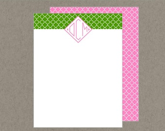 Set 20 Preppy Monogram Personalized Flat Note Cards with Envelopes - Pink and Green quatrefoil -  Social Stationery