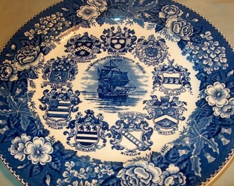 Vintage Transferware Plate, Blue & White ,The Mayflower in Plymouth Harbor