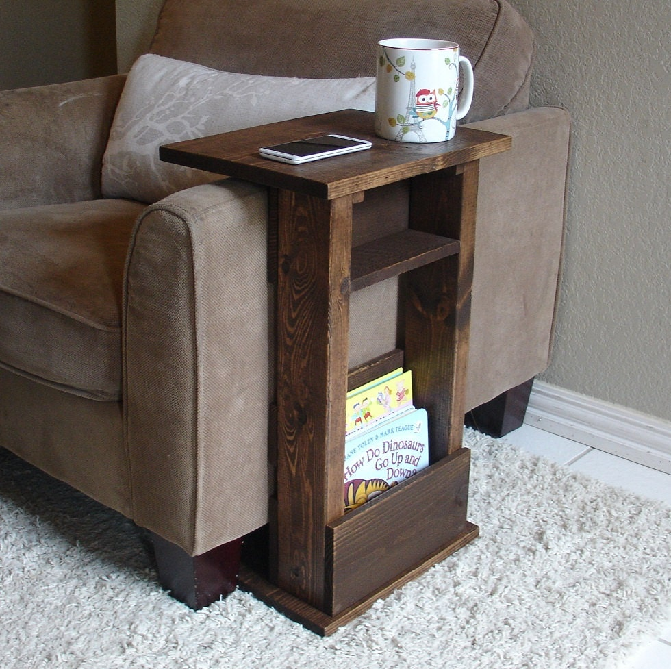 Sofa chair arm rest table stand ii with shelf and by keodecor for Side table for sectional sofa
