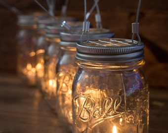 Set of 5 Hanging Mason Jar Candle Holders - Farmhouse Wedding Candles - Wedding Candle Holders - Hanging Wire - Patio Decorations - Rustic