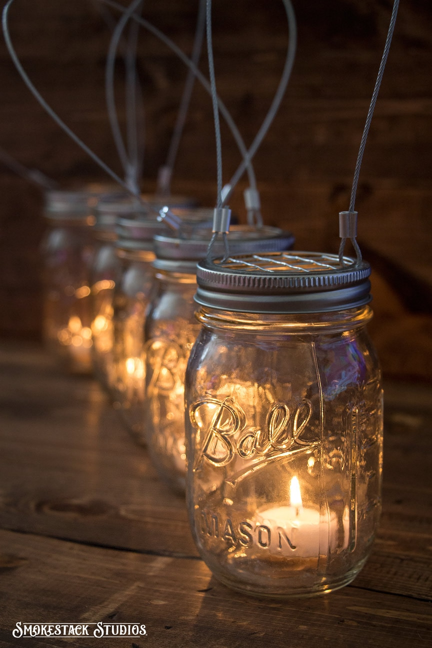set of 5 hanging mason jar candle holders farmhouse wedding. Black Bedroom Furniture Sets. Home Design Ideas
