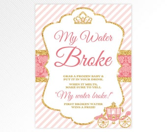 Glitter Princess My Water Broke Baby Shower Game   Pink And Gold Baby Shower  Printable Game