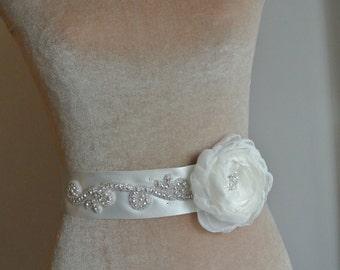 SALE Bridal Belt Wedding Dress Sash Floral Belt Floral sash Lace Sash Ivory Sash Narrow Bridal Sash Beaded Wedding Belt - EDEN