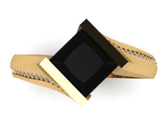 Princess Cut Black Diamond Engagement Ring 14k Yellow Gold