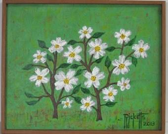 WHITE BLOOMS Original Painting Acrylic Handmade Wood Frame 17X13.75 No. 411
