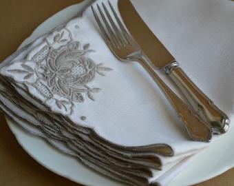Set of 8 Vintage Madeira embroidered Irish Linen dinner napkins
