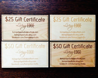 Gift Certificate - 50 CAD - Living Edge Studio Gift Certificate - Gifts for Wood Lovers - Gift Card