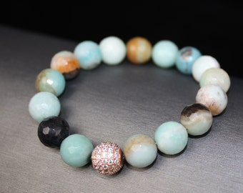 Amazonite 10 mm beads with Rose Gold Pave accent bead on stretchie cord