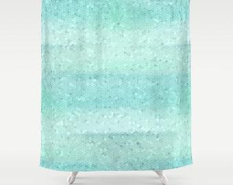 Shower Curtain, Bath Curtain, Bathroom Decor, Aqua Shower Curtain, Beach Bathroom, Geometric Bathroom, Aqua Bathroom, Powder Room Decor