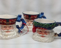 Vintage Retired Department 56 Santa Claus Small Porcelain Mugs Christmas Toby Small Cup Face Holiday Dept 56