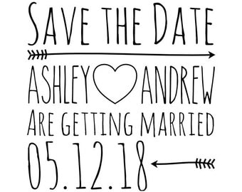 "CUSTOM SAVE the DATE stamp - Custom Rubber Stamp - custom name and date stamp, wedding stamp, card stamp, tags stamp, 1.7""x1.7"" (cstd14)"