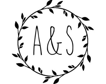 """Wedding Wreath Initials Stamp, personalized stamp, wreath stamp, initials stamp, envelope stamp, card stamp, tags stamp, 1.8""""x1.8"""" (cts147)"""