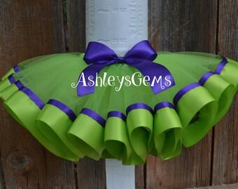 Tinkerbell Tutu, Tinkerbell Tutu Dress, Tinkerbell Birthday Outfit, Tinkerbell Costume, Tinkerbell Ribbon Tutu, Lime Green and Purple Tutu