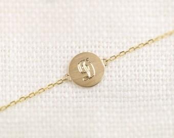 14k solid gold initial disc bracelet, initial bracelet, personalized initial bracelet, monogram bracelet, per-b101