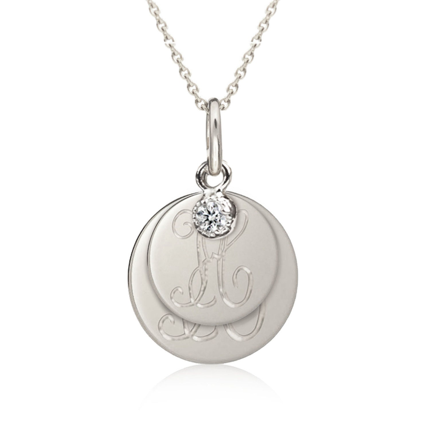 double initial necklace 14k solid white gold mother child. Black Bedroom Furniture Sets. Home Design Ideas