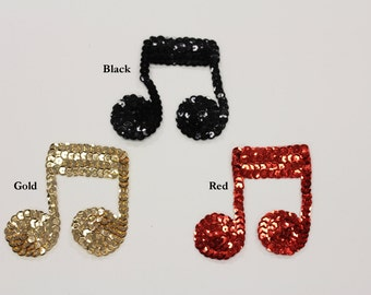 Sequin Music Notes Applique 2.5""