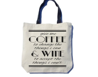Coffee & Wine Tote Bag,  Screen Printed, Heavyweight Canvas