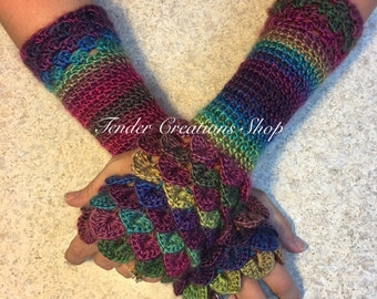 Dragon Scale Gloves/Fingerless Gloves/Dragon Gloves/Crocodile Gloves/Crochet Gloves/Custom Order