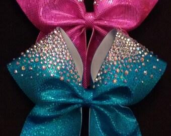 The Mia Bow-Hand-placed rhinestone cheer bow
