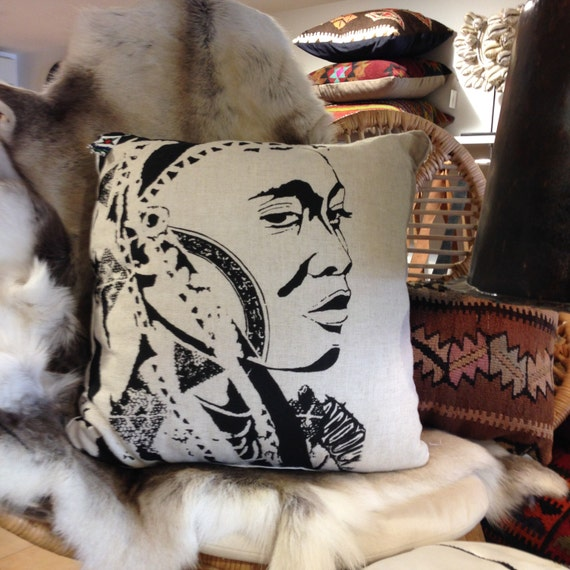 Cushion, Neutral Linen Screen Printed by hand individually/ Wakulu the Warrior Woman