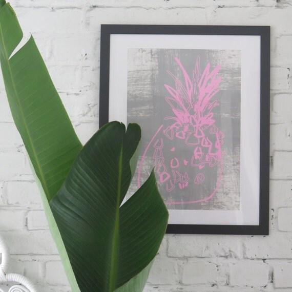 Pineapple Wall Art, Pop Art Screen-print / pink and grey / 310gsm textured cotton RAG Paper