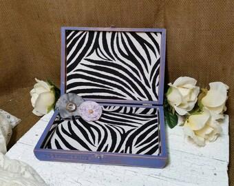 Vintage Jewelry Box, Recycled Jewelry Box, RobinsStudio, Shabby Chic Box, Rustic Jewelry Box, Purple Jewelry Box, Jewelry Box, Jewlery Box