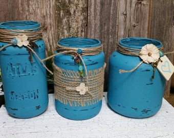 Wedding Centerpieces, Shabby Chic Jars, Turquoise, Glass Jars, Glass Wedding Jars, RobinsStudio, Shabby Chic, Country Wedding, Wedding