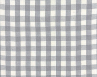Dapper Wovens by Luke for Moda- Check Please Pavement gray and white medium gingham check fabric