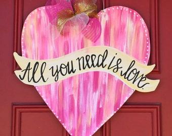 Heart Door Hanger, Valentine Door Hanger, Welcome Door Hanger