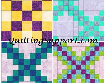 Irish Chain Set 1 of 15 Inch Block Paper Template Quilting Block Pattern PDF