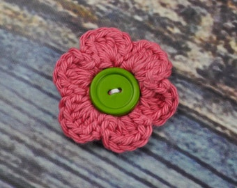 Hair Accessories- Flower Hair Clip- Mauve and Green